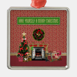 Weihnachtsraum, Kamin, Baum, Spielwaren Silbernes Ornament