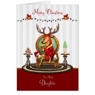 Weihnachtsren für Tochter Karte