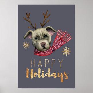 Weihnachtsren-Grube Stier mit Poster