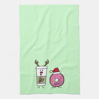 Weihnachtsren-Kaffee und Sankt-Krapfen Handtuch