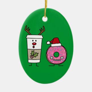 Weihnachtsren-Kaffee und Sankt-Krapfen Keramik Ornament