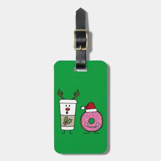 Weihnachtsren-Kaffee und Sankt-Krapfen Kofferanhänger