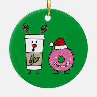 Weihnachtsren-Kaffee und Sankt-Krapfen Rundes Keramik Ornament