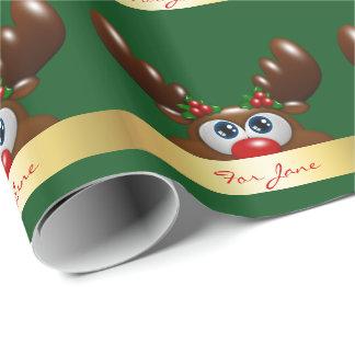Weihnachtsren mit einer speziellen Widmung Geschenkpapier