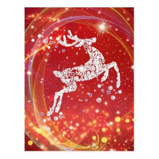 Weihnachtsren mit Glitzern Postkarte