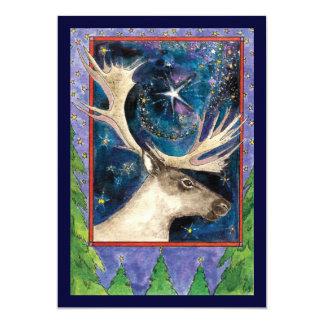 Weihnachtsren nachts mit einer Stern-Einladung Karte