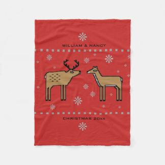 Weihnachtsren-Paare addieren Namen und Jahr Fleecedecke