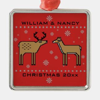 Weihnachtsren-Paare addieren Namen und Jahr Silbernes Ornament