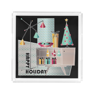 WeihnachtsRetro Baum Acryl Tablett