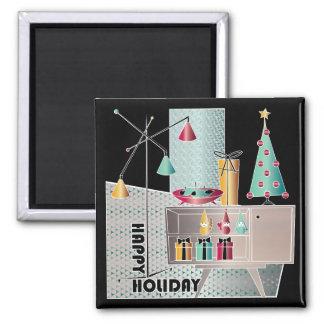 WeihnachtsRetro Baum Quadratischer Magnet