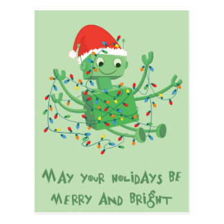 Weihnachtsroboter verwirrt oben in den Lichtern Postkarte