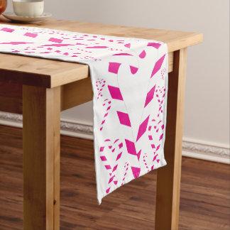 Weihnachtsrosa Zuckerstange-Tabellen-Läufer Kurzer Tischläufer