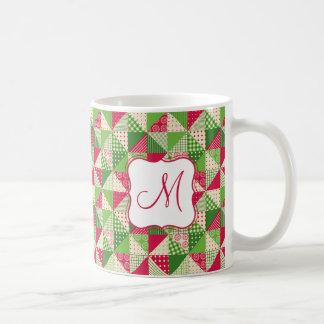 Weihnachtsrot-grünes farbiges Patchworkmuster Kaffeetasse