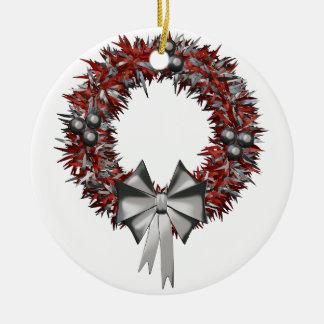 Weihnachtsrote u. silberne keramik ornament
