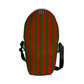 Weihnachtsrote und grüne Zuckerstange-Streifen Kurier Taschen