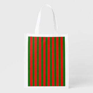 Weihnachtsrote und grüne Zuckerstange-Streifen Wiederverwendbare Einkaufstasche