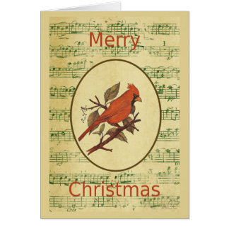 Weihnachtsrote Vogel-Kardinals-Grün-Musik Karte