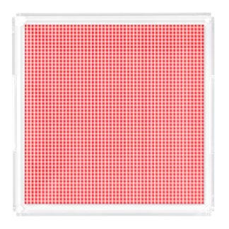 Weihnachtsroter Gingham-Karo-kariertes Muster Acryl Tablett