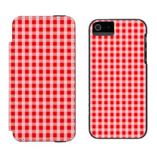 Weihnachtsroter Gingham-Karo-kariertes Muster Incipio Watson™ iPhone 5 Geldbörsen Hülle
