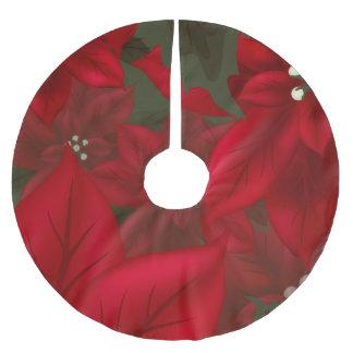 Weihnachtsroter Poinsettia-Baum-Rock Polyester Weihnachtsbaumdecke