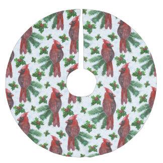 Weihnachtsroter Vogelmuster Feiertags-Baumrock Polyester Weihnachtsbaumdecke