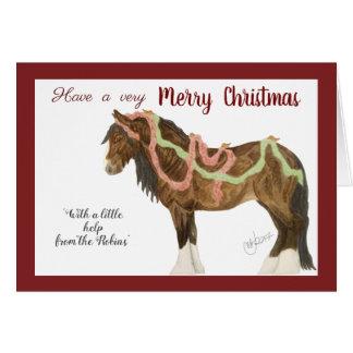 Weihnachtsrotkehlchen u. -pferd karte
