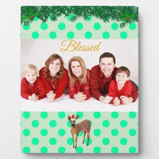 Weihnachtsrotwild-aquamariner Polka-Punkt Fotoplatte