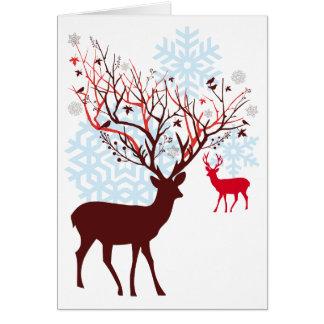 Weihnachtsrotwild mit den Baumastgeweihen Grußkarte