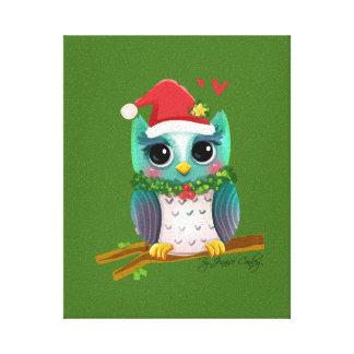 Weihnachtssankt-Feiertags-Eulen-Mistelzweig Gespannter Galeriedruck