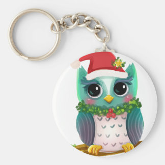 Weihnachtssankt-Feiertags-Eulen-Mistelzweig Schlüsselanhänger
