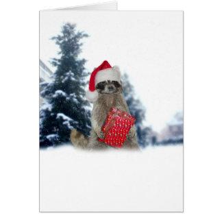 Weihnachtssankt-Waschbär-Bandit Karte