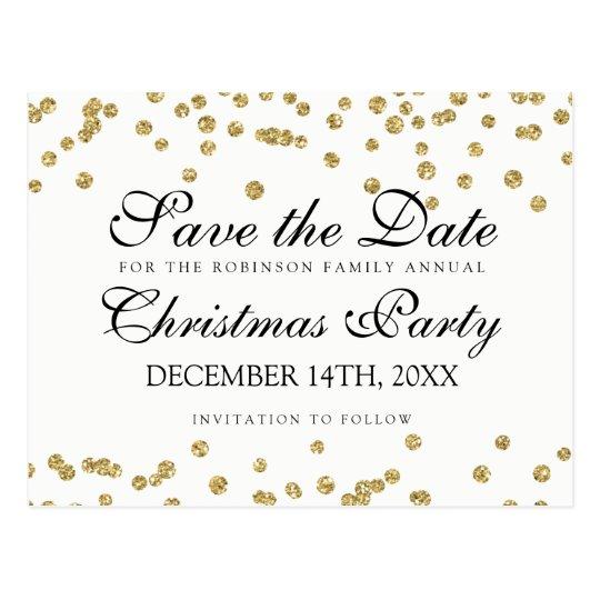 WeihnachtsSave the Date GoldGlitterConfetti Postkarte
