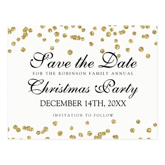 WeihnachtsSave the Date GoldGlitterConfetti Postkarten