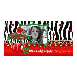 Weihnachtsschablonen-niedlicher kleiner Kuchenzebr Bilderkarten