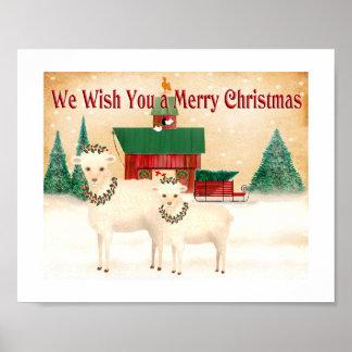 Weihnachtsschafe. Bauernhof wirft das Wollefaserin Poster