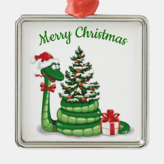 Weihnachtsschlange Silbernes Ornament