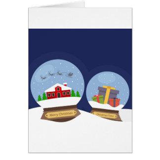 Weihnachtsschnee-Kugeln und Karte