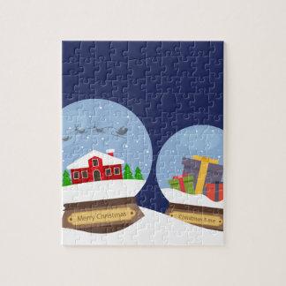 Weihnachtsschnee-Kugeln und Puzzle