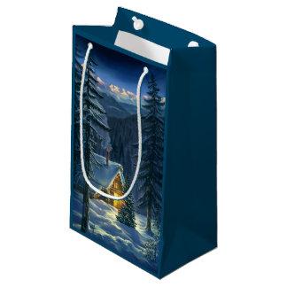 Weihnachtsschnee-Landschaftskleine Geschenk-Tasche Kleine Geschenktüte