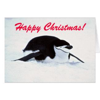 Weihnachtsschnee-Pinguin-Gruß-Karte Karte