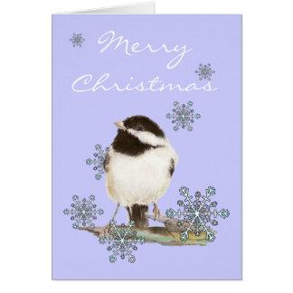 Weihnachtsschnee u. niedlicher Chickadee-Vogel Karte