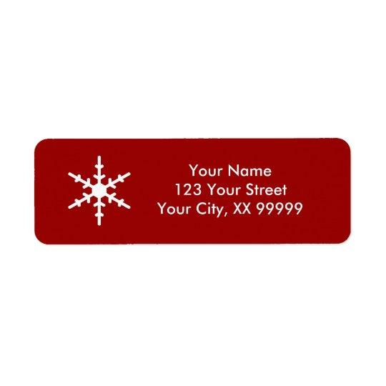 Weihnachtsschneeflocke-roter weißer Klassiker Rücksendeetiketten