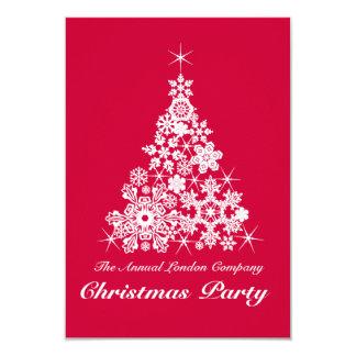 Weihnachtsschneeflockebaum-Party Einladungsrot Karte