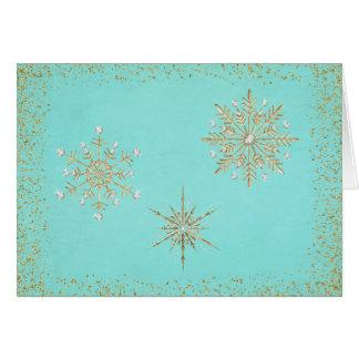 Weihnachtsschneeflocken Aqua u. Gold Karte