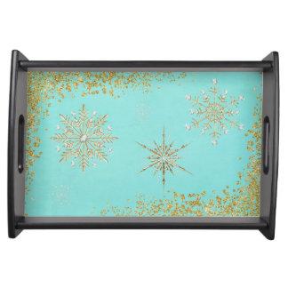Weihnachtsschneeflocken im Aqua u. im Gold Serviertablett