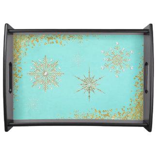 Weihnachtsschneeflocken im Aqua u. im Gold Tablett