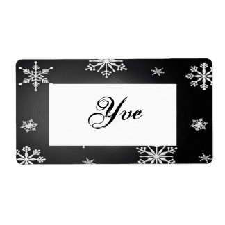 Weihnachtsschneeflocken schwarz und graue großer adressaufkleber