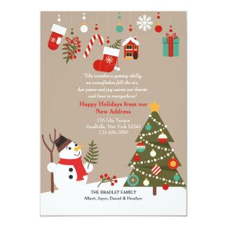 WeihnachtsSchneemann-bewegliche Mitteilung 12,7 X 17,8 Cm Einladungskarte