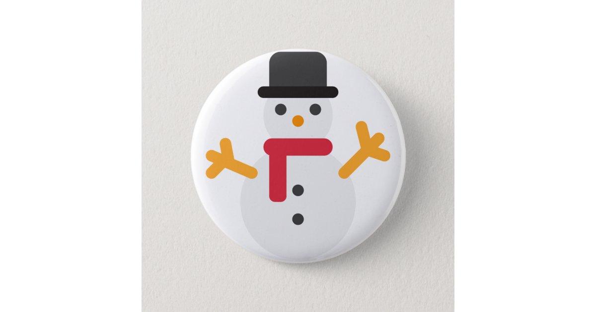 WeihnachtsSchneemann emoji Runder Button 5,1 Cm | Zazzle