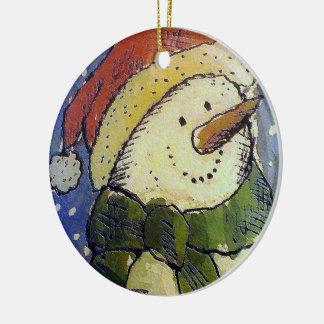 WeihnachtsSchneemann Keramik Ornament